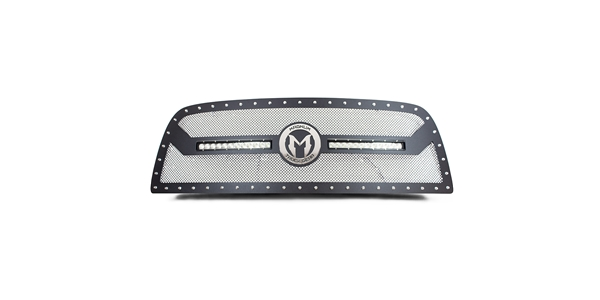 Magnum Truck Gear CL Series Grilles feature Chrome Accents and LED Lights along with a unique woven mesh design.